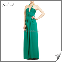 Plus Size Green Halter Party Wear Latest Gown Designs 2016
