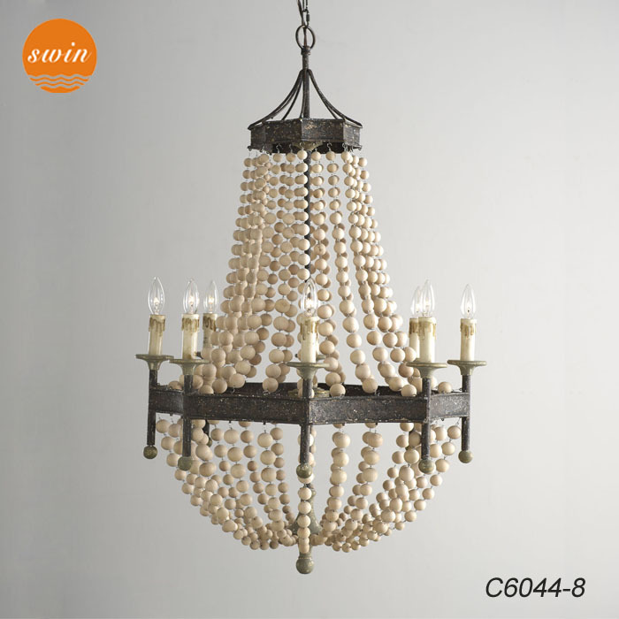 classic pendant lighting. New American Country Style Wood Beads Chandelier Lighting Wrought Iron Antique Classic Pendant Lamp In China