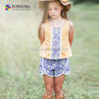 e3267a45fb56 Trendy Outfits Printed Suits Kids Clothing Girls Yellow Sleeveless ...