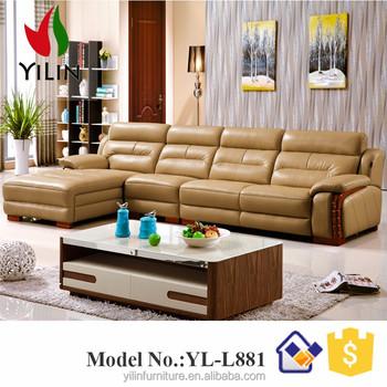Furniture Living Room Sofa Set L Shape Synthetic Leather