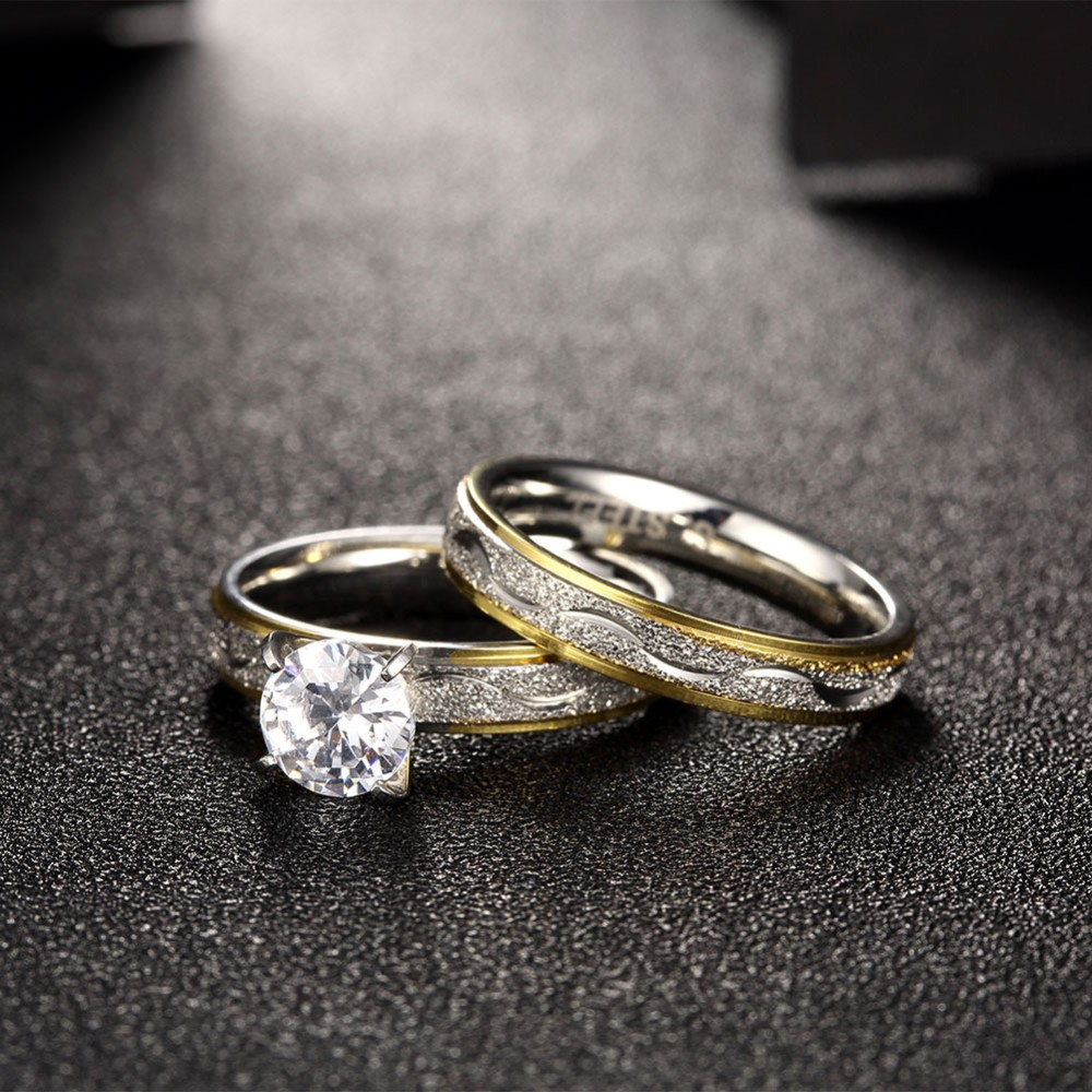 Beautiful gold rings designs 316l stainless steel rings with diamond couple ring