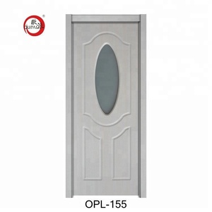 Top Sale Top Grade Cheap Interior Doors Oval Shape Glass Inserted Flush Laminated Door