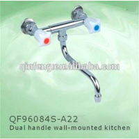 two handle brass and brass kitchen mixers/kitchen tap/two handle faucet,made in china