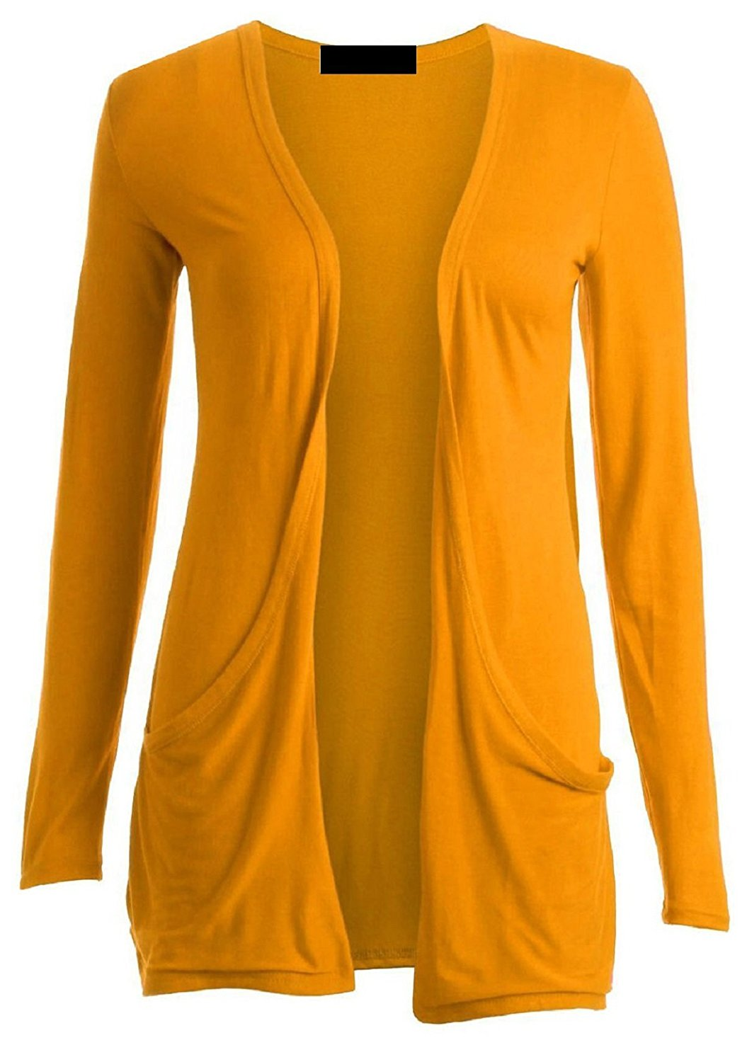 a05cd49bfd Get Quotations · Ladies Women Boyfriend Open Cardigan with Pockets Mustard  M/L US 8-10 UK