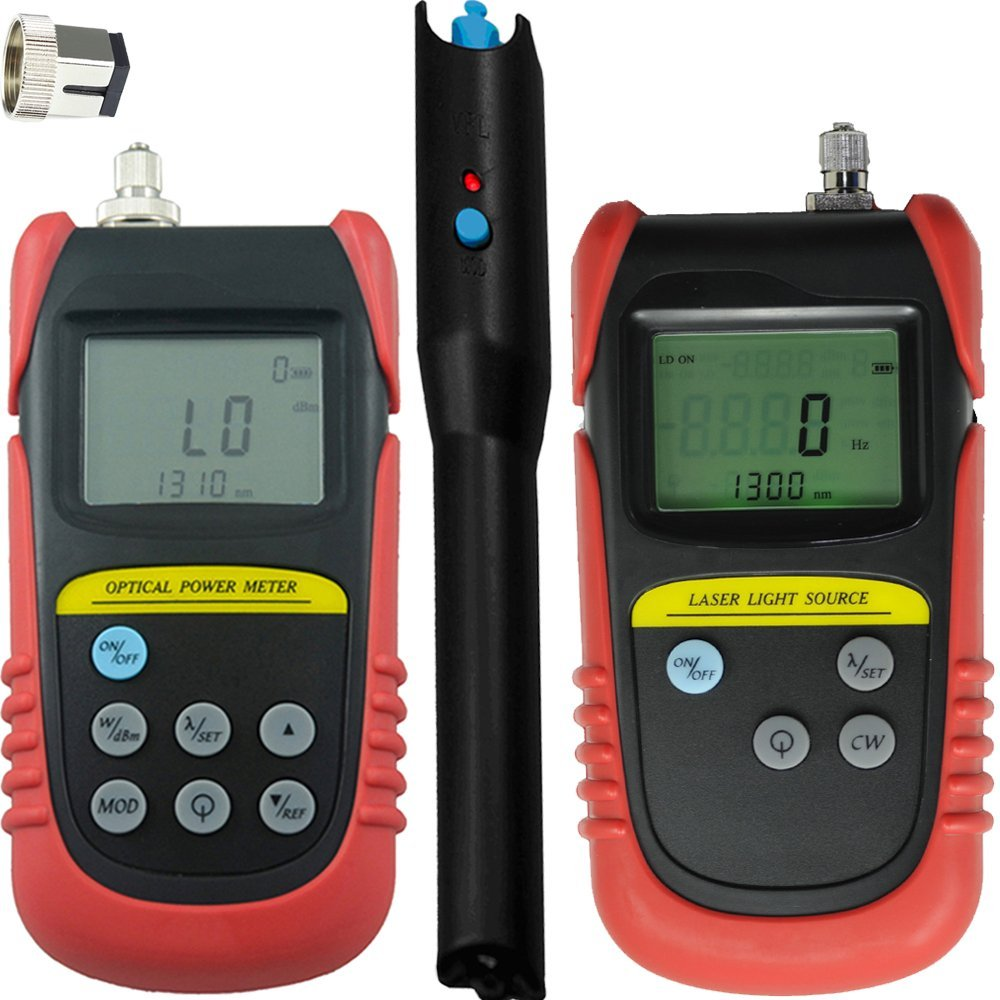 Tellid Portable -70dB ~ +6dB, Fiber Optical Power Meter Optic Power meter + 850nm,1300nm Wavelength Optical Laser Source Optic laser light source +15mw(13-15km) fiber cable Visual Fault Locator