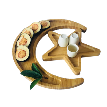 New Reusable Wooden Plate Bamboo Tray Dinnerware Star Moon Shape Plates