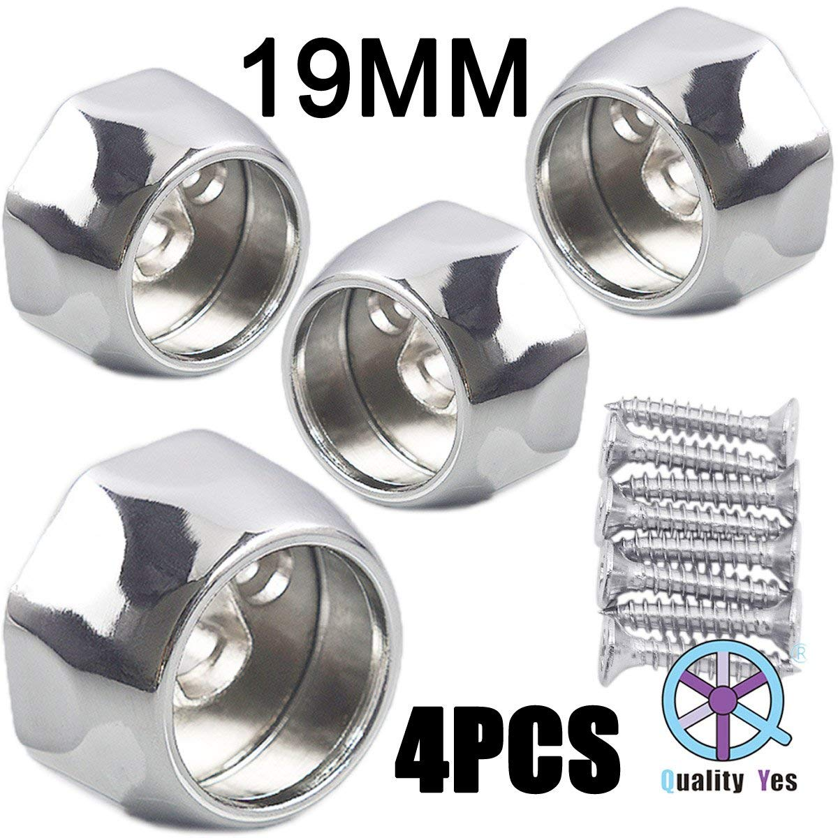 QY 4PCS All Zinc Alloy Wardrobe Pipe Tube Hanging Rod End Bracket Support Wall Mounted Flange Rail Holder Bracket for 22mm Diameter Tube Quality Yes