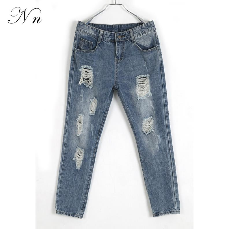 2015 Fashion Women Ripped Jeans High Waist Female Casual Loose Blue Pencil Denim Jeans Long Harem Pants Plus Size Feminina WP27