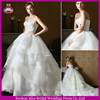 SD1544 organza layered skirt ball gown cheap white fluffy wedding dresses with long train