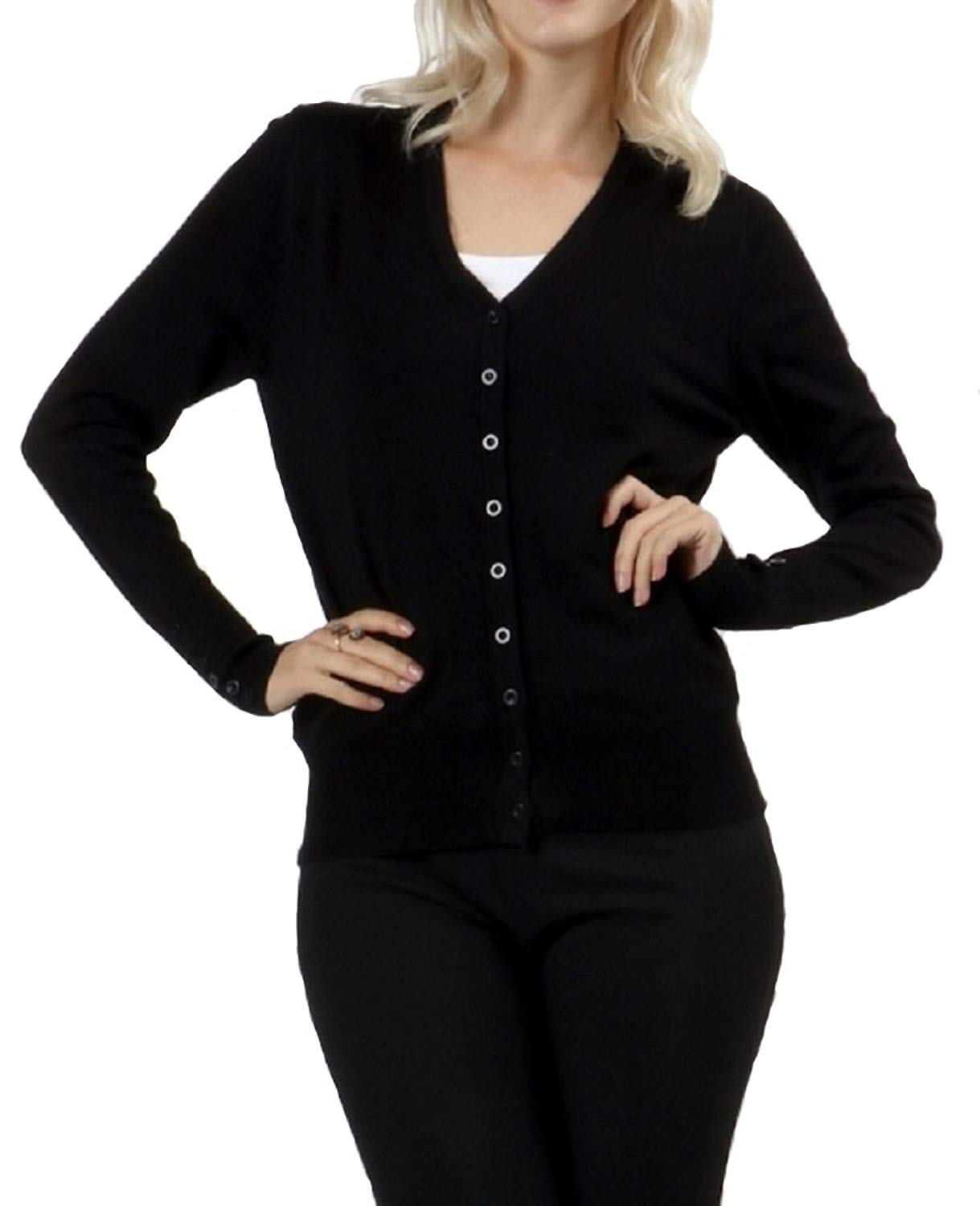 45574058e7 Get Quotations · Zenana Long Sleeve Button Down Cardigan with Button Detail on  Sleeves