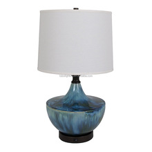 Blue ceramic table lamps with White linen fabric lampshade