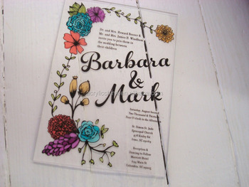 Custom Design Acrylic Greeting Card Handmade Wedding Cards