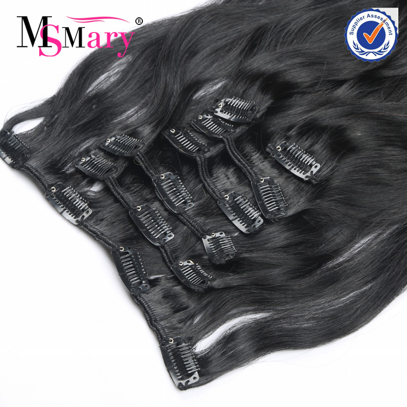 No tangle no shed 100% human wavy brazilian 3 piece clip in hair extensions