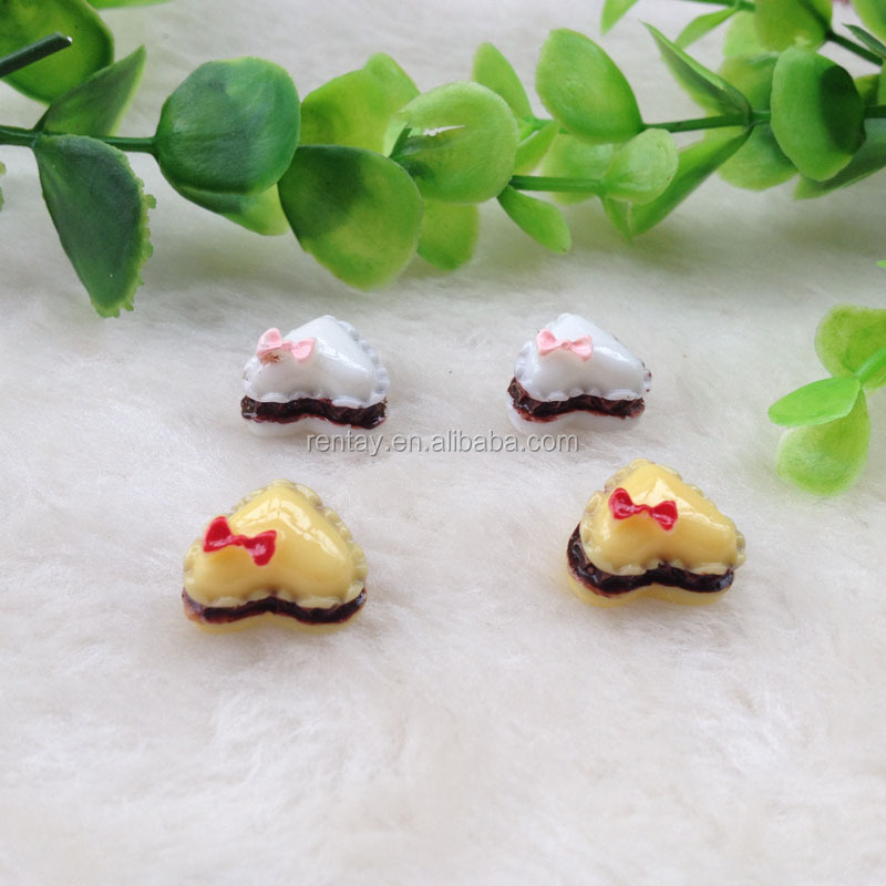 Latest Design 12*15mm Heart Bowknot Kawaii Food Cake Cabochon Resin For Kids Hair Clips