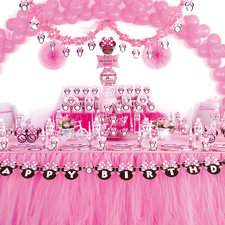 Children's Birthday Party Pink Girl Theme Party Supplies Set