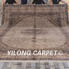 Yilong 12'x18' Top persian series 366cm x 549cm floral silk on silk persian carpet sale