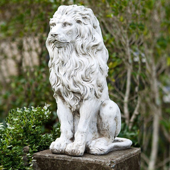 Exceptionnel Garden Decor Life Size Carved Antique Marble Stone Sitting Lion Statue