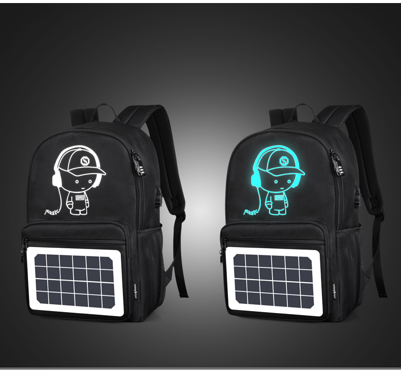 Black Anti-Theft Outdoor Water Resistant Luminous Logo Solar Panel Backpack With USB Charger