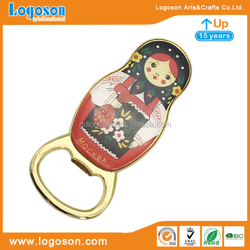 Russia Nesting Doll Moscow Souvenirs Bottle Opener with Magnet Beer Jar Opener with Epoxy Filling Stainless Steel Bottle Opener