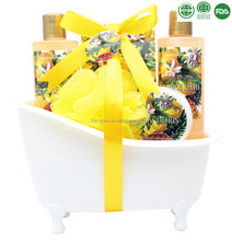 Enjoy a high quality life with luxury bath spa gift set fruit shower gel bubble bath body lotion bath salt in bathtub