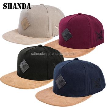 fdb9f35f54ec leather patch snapback hats custom snapback with your own logo suede brim  baseball cap