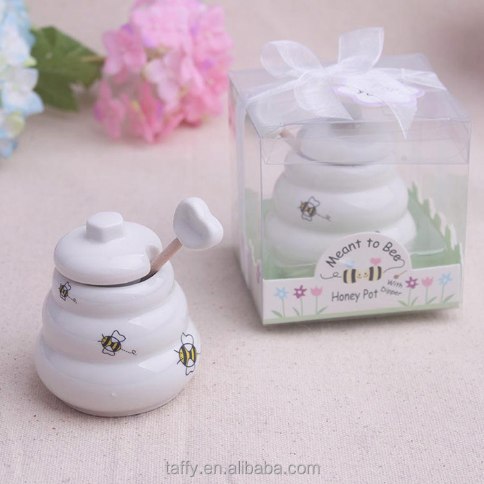 Wedding Bridal Shower Favori Meant To Bee Honey Pot Ceramica con Mestolo di legno regali di nozze per ospiti