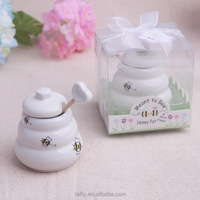 Wedding Bridal Shower Favors Meant to Bee Ceramic Honey Pot with wooden Dipper wedding gifts for guests