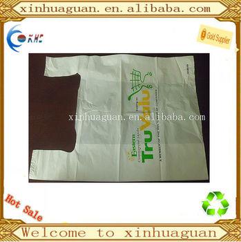 Hdpe custom made biodegradable plastic t shirt bag buy for Custom plastic t shirt bags