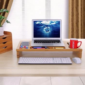 Fesselnd Desktop Bambus Computermonitor Ständer Tisch Riser Für Macbook Imac