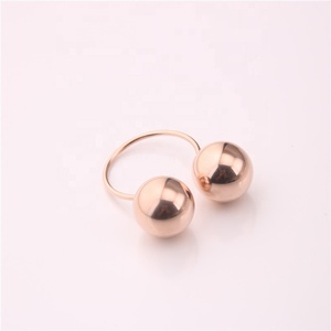 Custom or Wholesale Double Two Big Ball Rose Gold Stacking Ring For Women