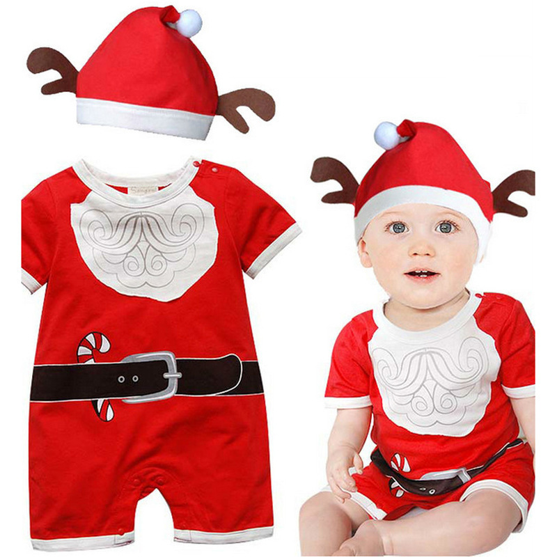 da21227be 2015 New Cute Baby Boys Christmas Rompers Costume Girls Dress Kids Romper Children  Santa Xmas Red Hat Oufits