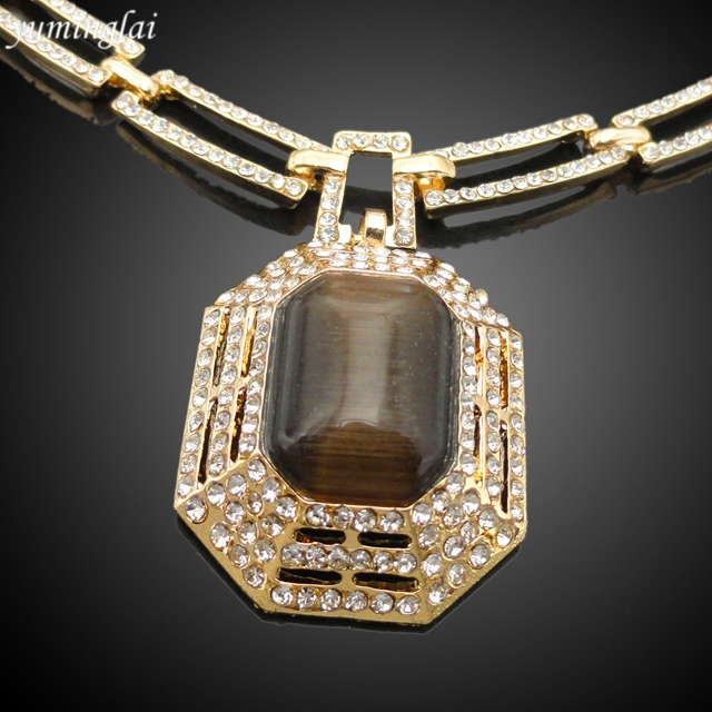 2017 Fashion Gold Plated Jewelry Set Brown Opal Noble Jewelry Sets FHK2128