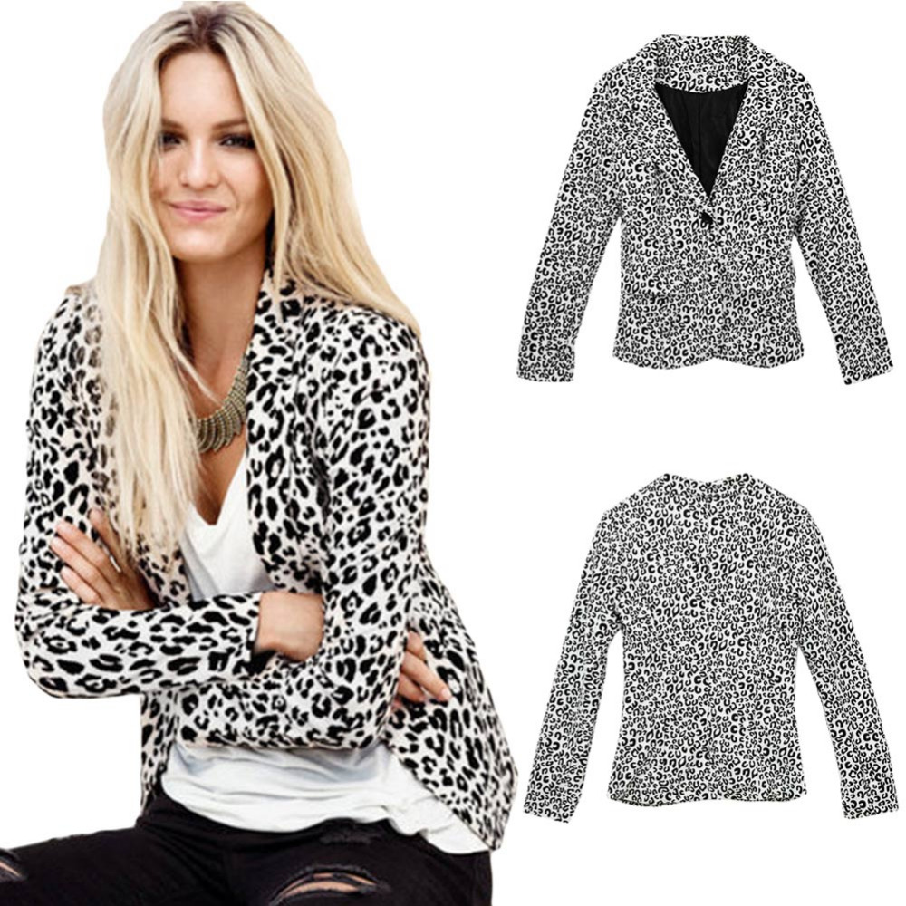New Fashion Women Slim Blazer Leopard One Button Notched Long Sleeve Suit Thin Coat White