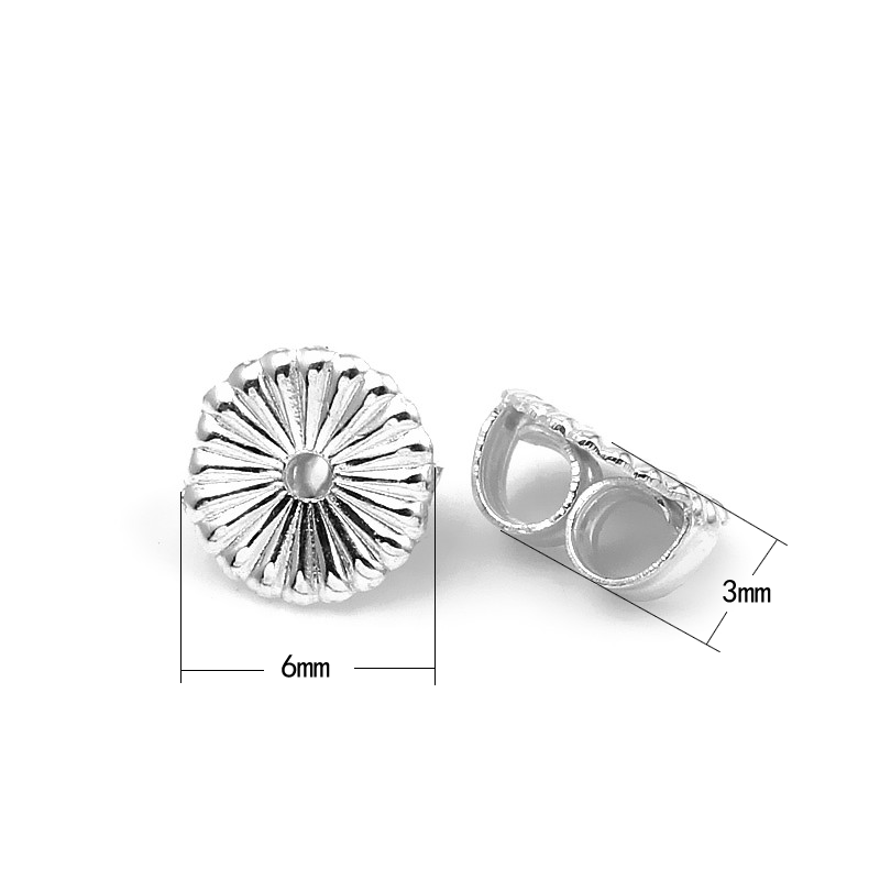 Xd P922 925 Sterling Silver Lace Earring Backs For Ear Stud Plugs