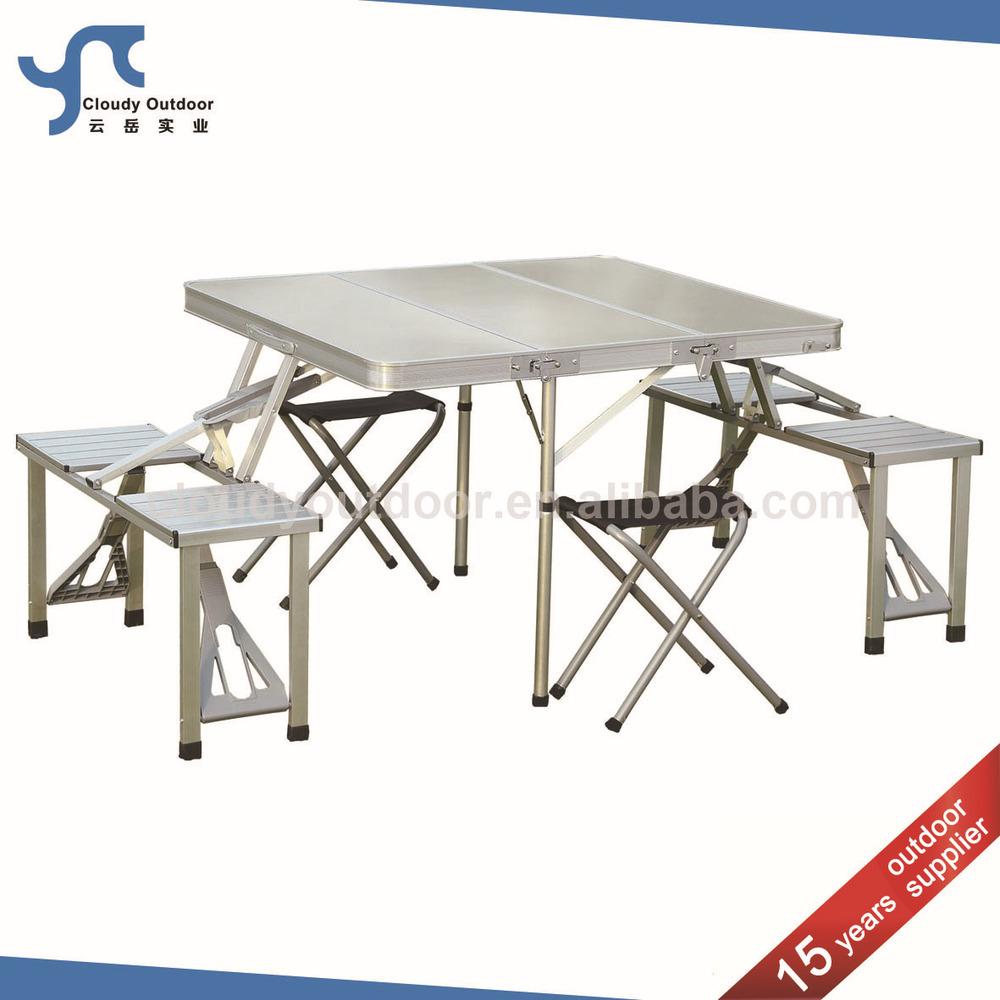Outdoor Aluminum Suitcase Folding Picnic Table Chair Set