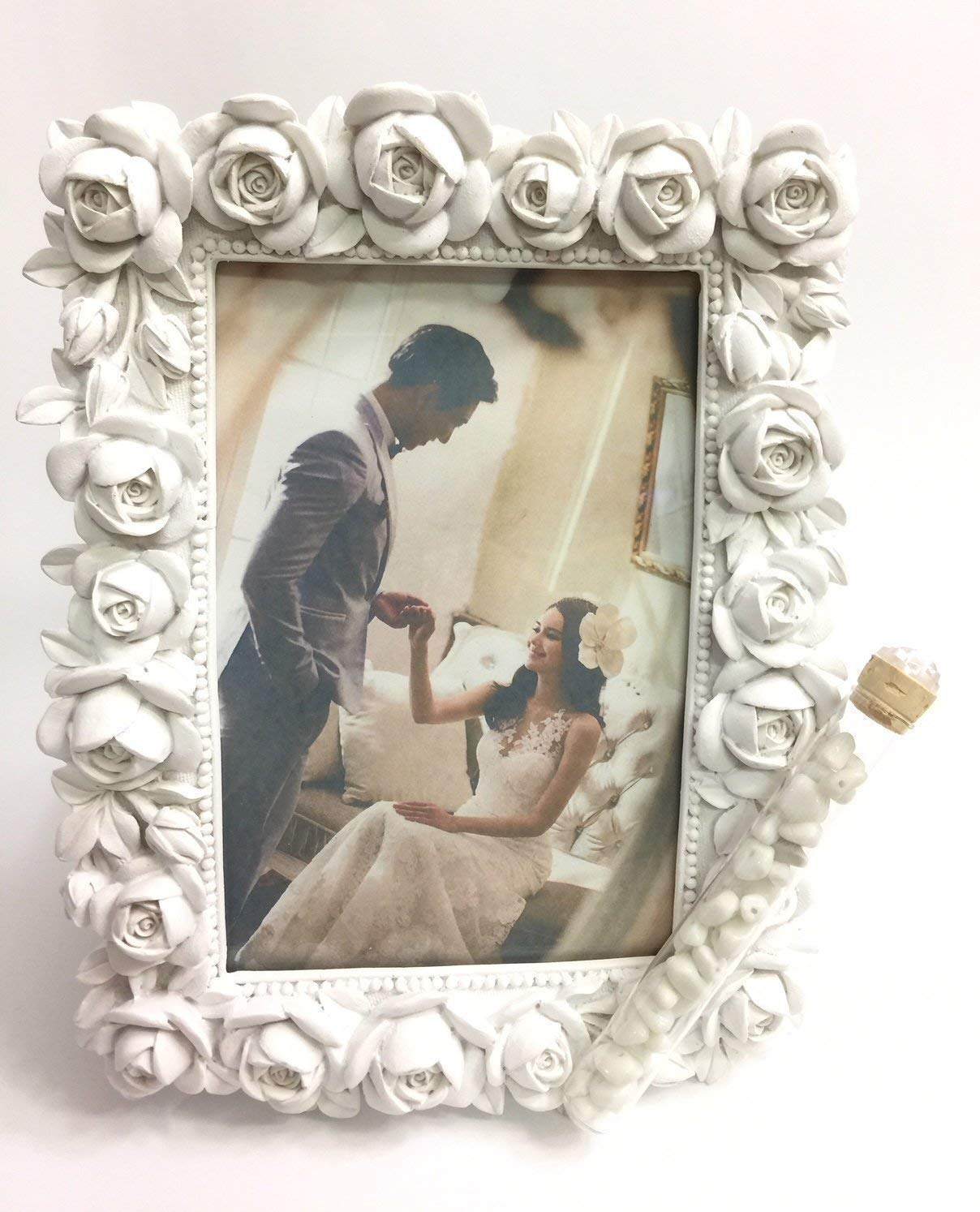 Jewish Wedding White Roses Photo Picture Frame With a Container for Broken Wedding Glass, 4 x 6 Picture Bridal Shower Or Wedding Gift