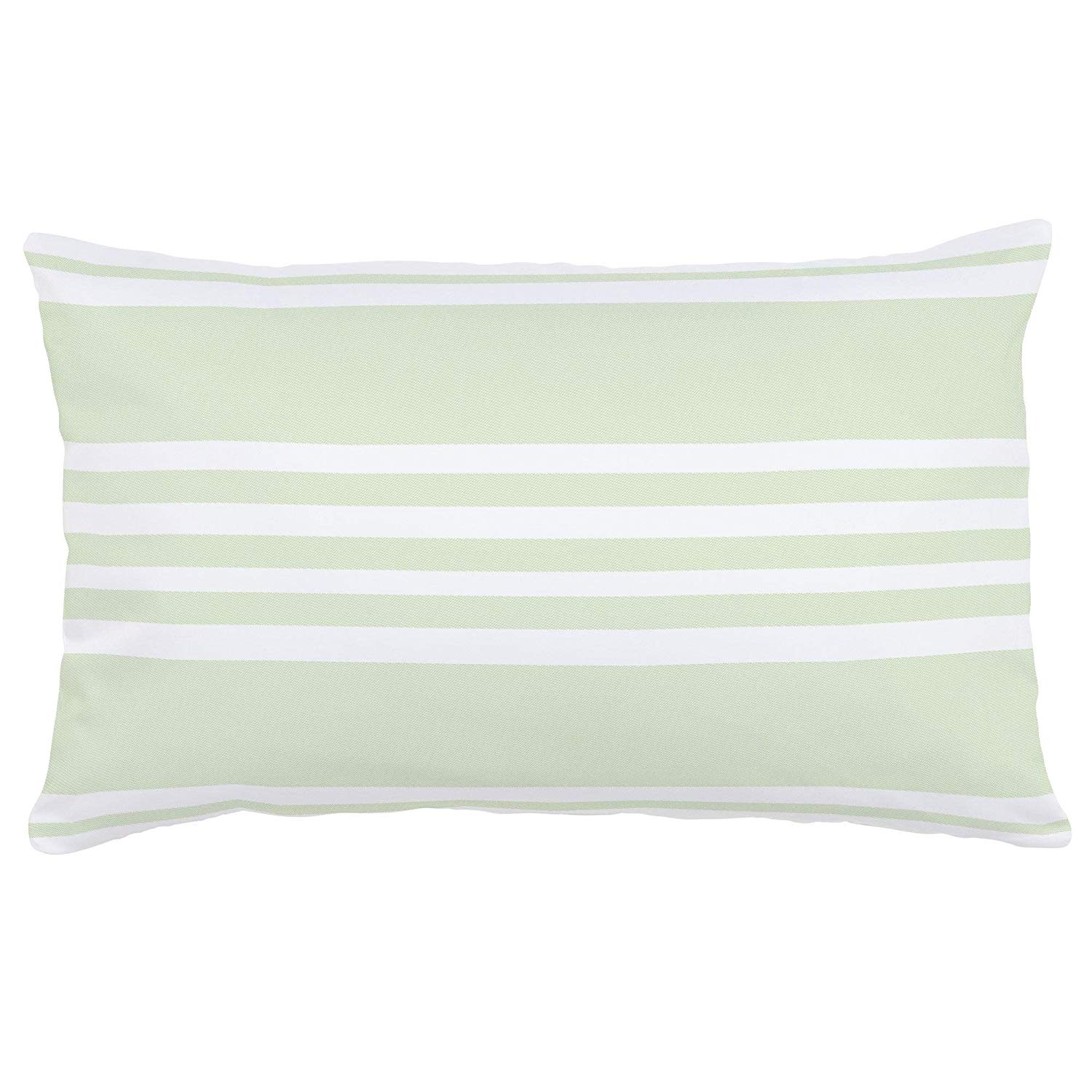Carousel Designs Pastel Green Summer Stripe Lumbar Pillow - Organic 100% Cotton Lumbar Pillow Cover + Insert - Made in the USA