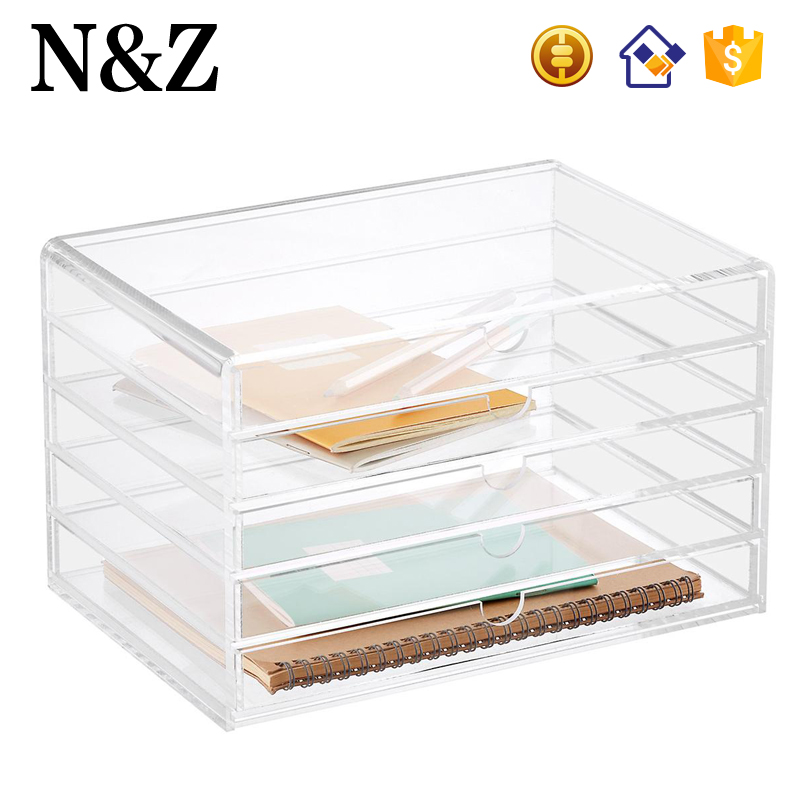 NZ M27 Acrylic 5 Drawers Makeup Notebook Organizer Clear Acrylic Accessory Storage Box