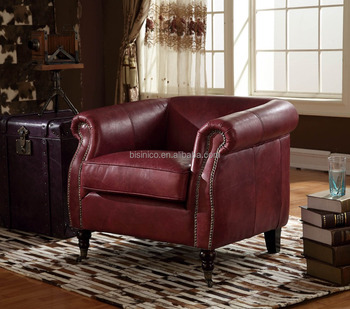 Italian Style Genuine Red Leather Living Room Arm Chair Replica Single Sofa
