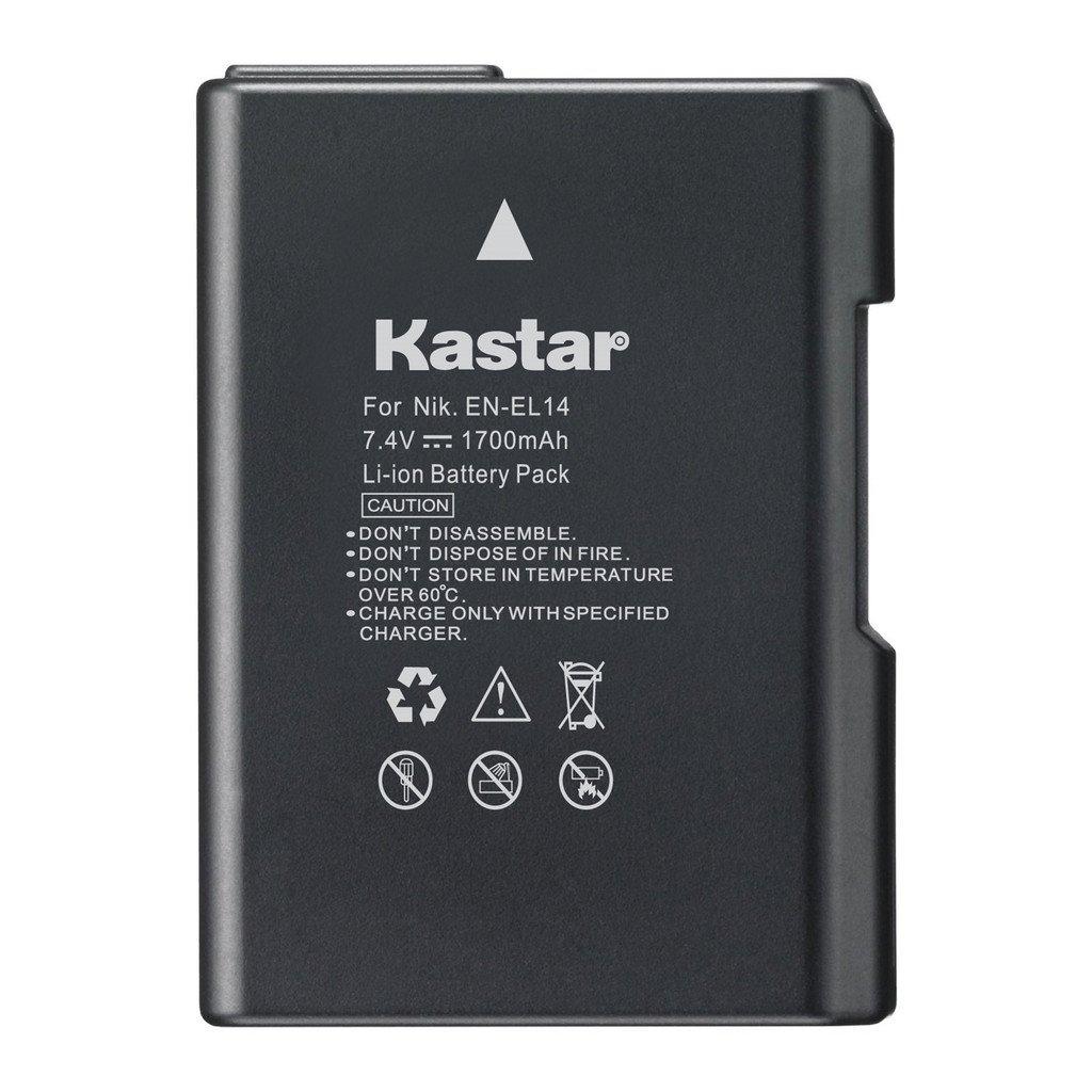Kastar Battery for Nikon EN-EL14, EN-EL14a, MH-24 and Nikon Coolpix P7000 P7100 P7700 P7800, D3100, D3200, D3300, D3400, D5100, D5200, D5300 DSLR, Df DSLR, D5600 Camera
