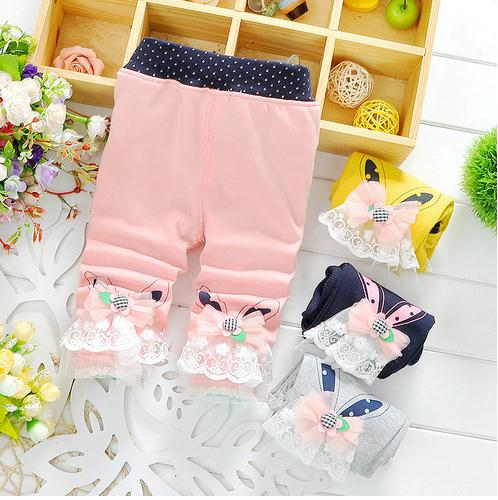 Wholesale Boutique Kids Clothing Baby Cotton leggings Children Lace Pants
