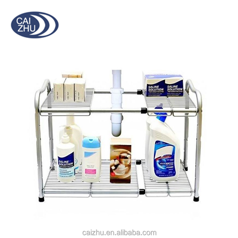 Under Sink 2-Tier Expandable Shelf 15.5 to 25.2-Inch Steel Wire rack Organizer rack Rack Silver