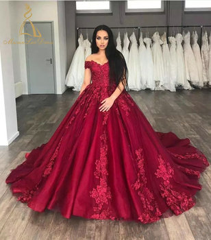 Embroidered Lace Train Tulle Strap Sweetheart Appliqued Red Sexy