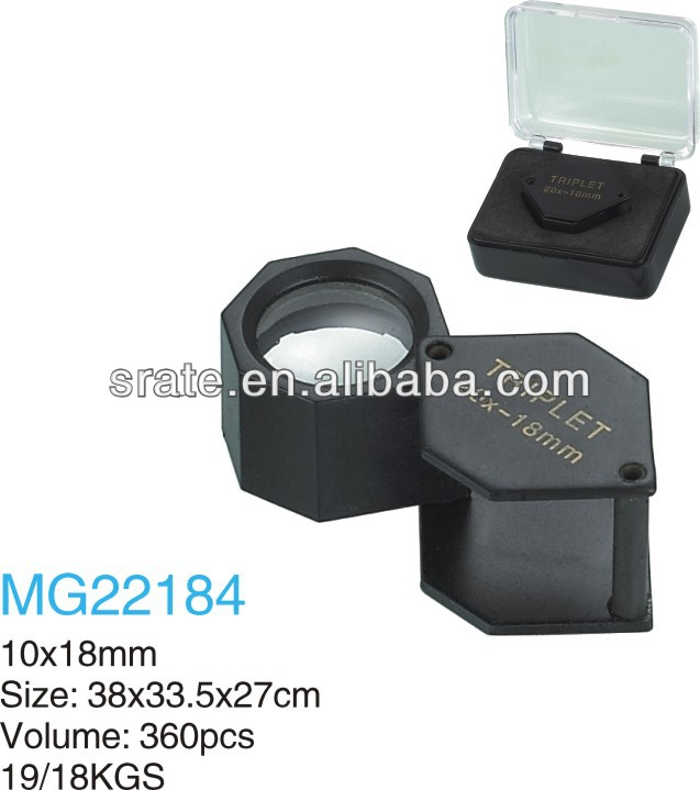 MG22184 10x18mm Metal Black Hexagon Loupe For Jewellery