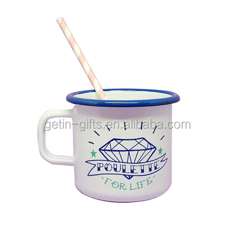New design customized logo print carbon steel enamel mug for promotions outdoor