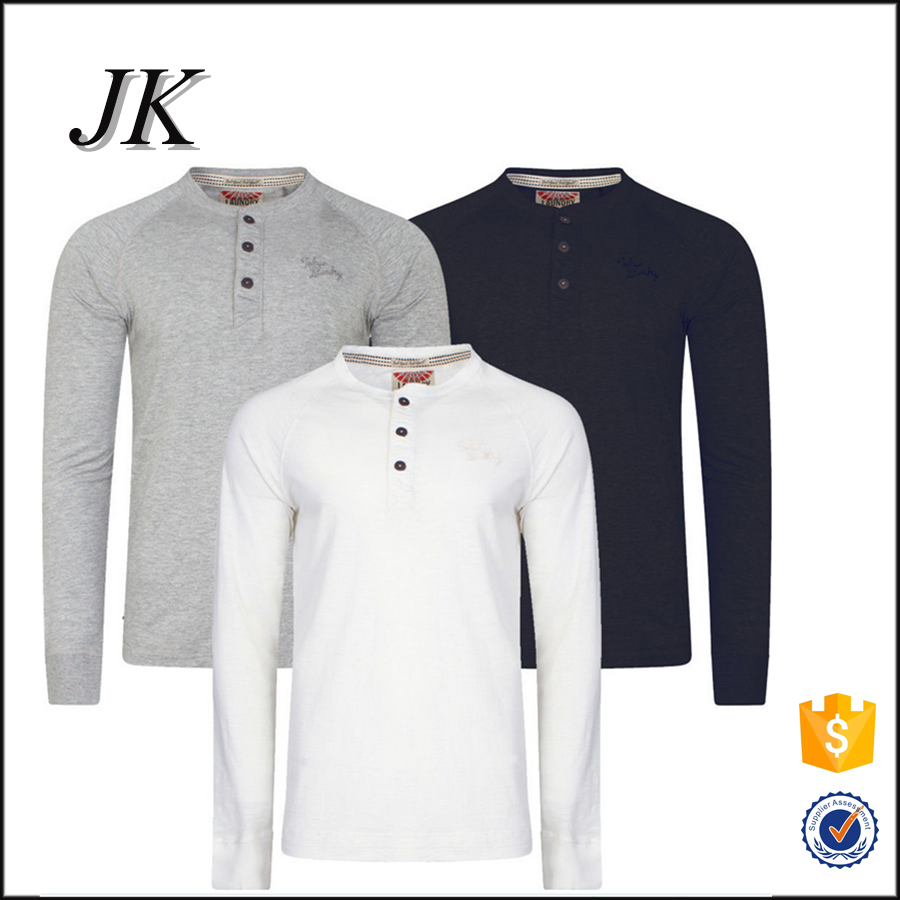 Desain t shirt raglan - 2016 Baru Desain Lengan Raglan 100 Katun Henley Lengan Panjang Top T Shirt