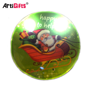 Custom Cheap Personalised Led Magnetic Christmas Pin Badge Flashing Pin