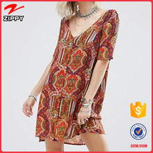 Button Front dubai iran Tea women fashion Dresses In Printed
