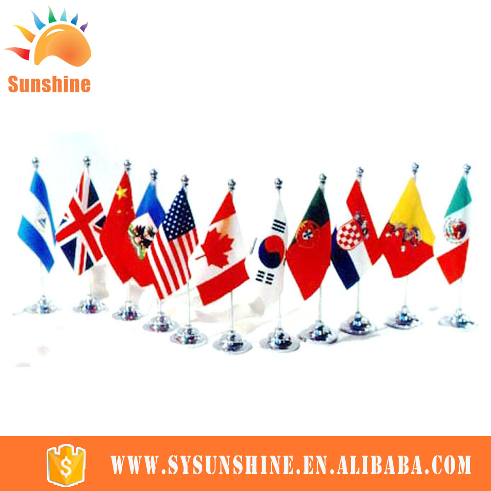 Different Country Cheap Wooden Flag Pole And Stand Table Flag