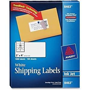 "8463 Avery Mailing Label - 2"" Width x 4"" Length - 1000 / Box - Rectangle - 10/Sheet - Inkjet - White"